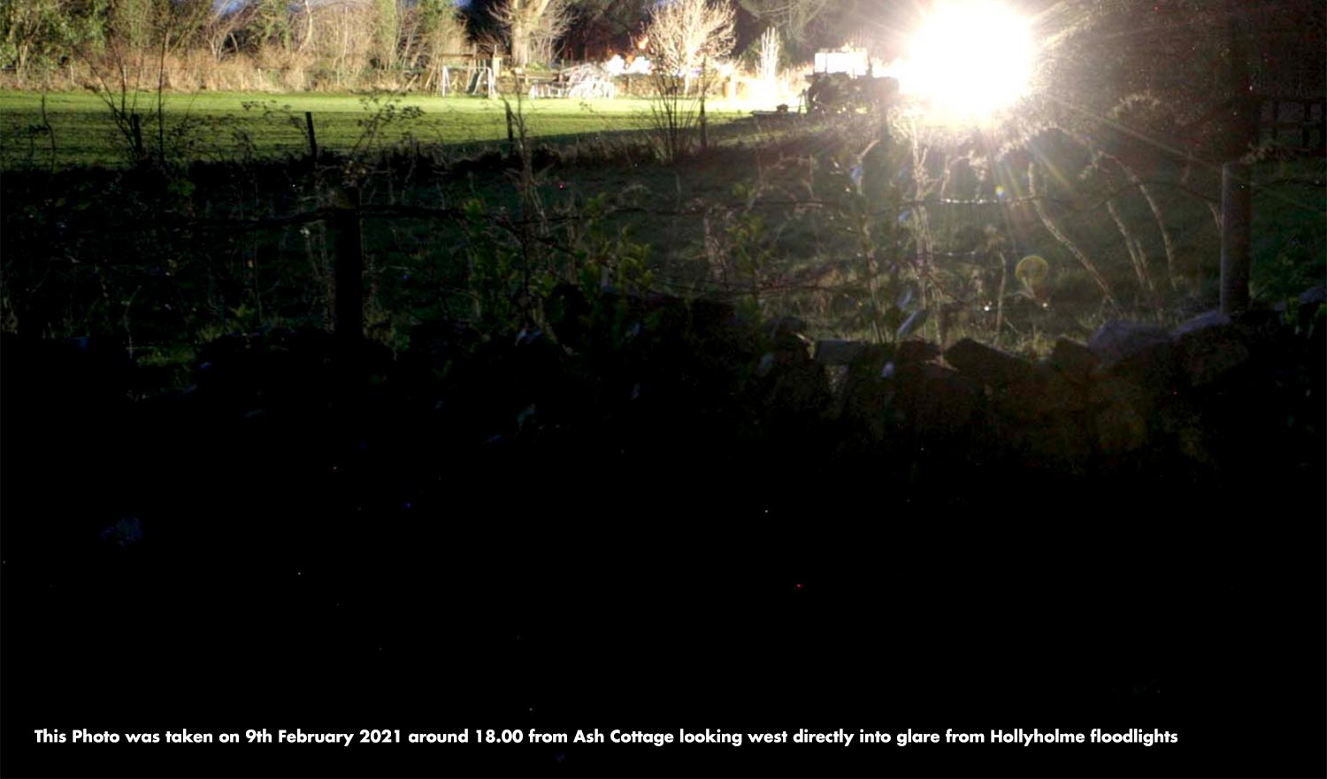 View from Ash Cottage looking west directly into glare from Hollyholme floodlights